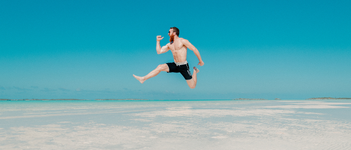 Man Jumps for Joy