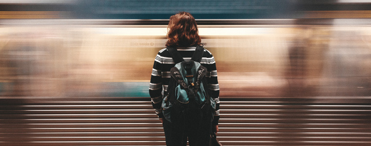 Woman Watching Train