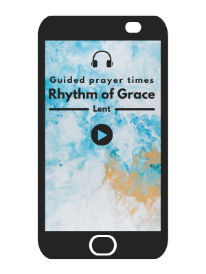 An iPhone with an image of a guided prayer time.